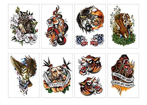 Pamo 8 fogli di tatuaggi temporanei autoadesivi neri forte serpente serpente lupo cane di tigre gufo eagle adesivo di tatuaggio per uomo donna ragazza impermeabile body art
