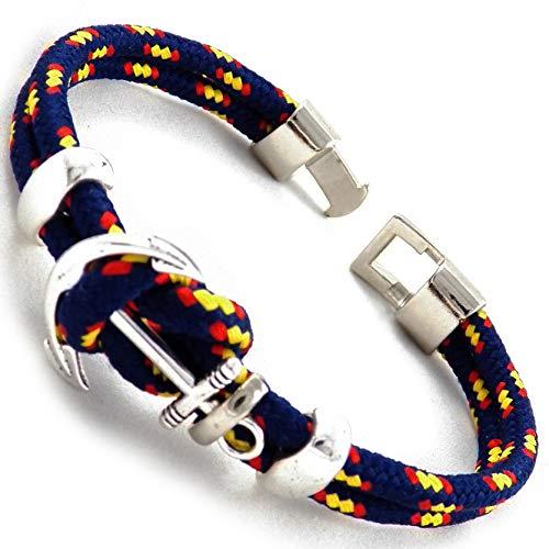 c6acf1aacd71 AKIEE Pulsera Ancla para Hombre o Mujer Bandera España con Cuerda Azul - 21  cm (