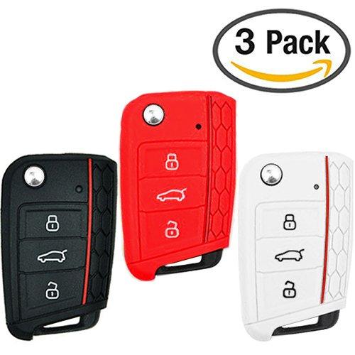 Guscio Chiave Telecomando per VW Volkswagen VW Golf 7 Mk7 Skoda Octavia 3 A7, Custodia in Silicone Cover Chiave 3 Tasti / Pulsanti, Protezione Copertina (nero, bianco, rosso)
