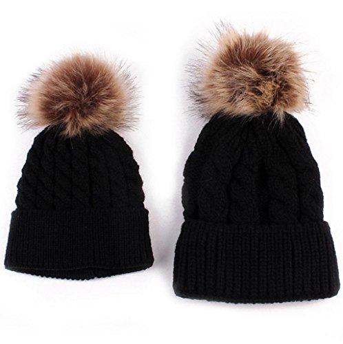 Gorros de punto Sannysis 2PCS gorro de invierno para madre y bebé (Negro)