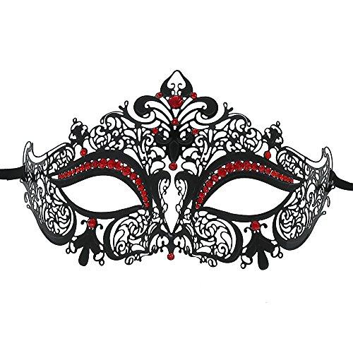 OUREIDOO Damen Venezianische Maske, Masquerade Maske Metall Venezianische Maske mit Crystal (Schwarz)