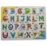 Wooden ABC Learning Puzzle Toy For Kids Capital Letters Colorful Design With Pull Out Knobs