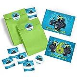 12 Einladungskarten zum 6. Geburtstag Kinder Junge Monstertruck incl. 12 Umschläge, 12 Tüten / grün, 12 Aufkleber / Monster-Truck / Auto / Einladungen zum Kindergeburtstag für Jungen