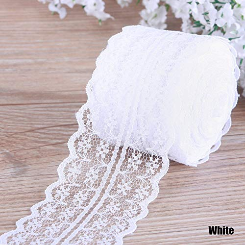 EUTUOPU Vintage Beautiful Colourful 10 m Retro Embroidered Lace Trim Ribbon for DIY Crafts White -
