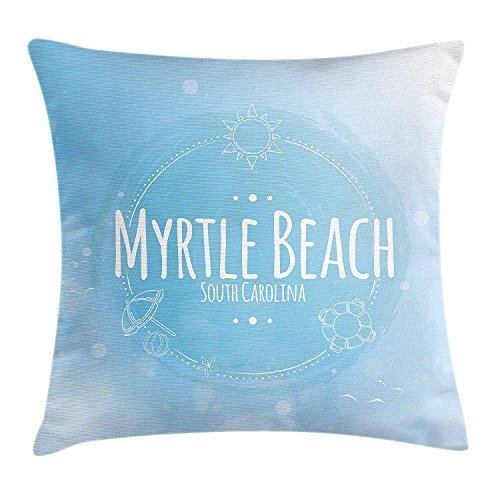 Myrtle Beach Throw Pillow Cushion Cover, South Carolina Beach Lettering with Sun Umbrella and Starfish Sketch, Decorative Square Accent Pillow Case, 18 X 18 inches, Blue Baby Blue White -