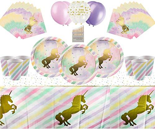 Unicorn Sparkle Magical Party Geschirr Kindergeburtstag-Set enthält Pappbecher, Teller, Tischdecke, Serviette und Verschiedene Bleistifte - EIN Muss für 16 Gäste