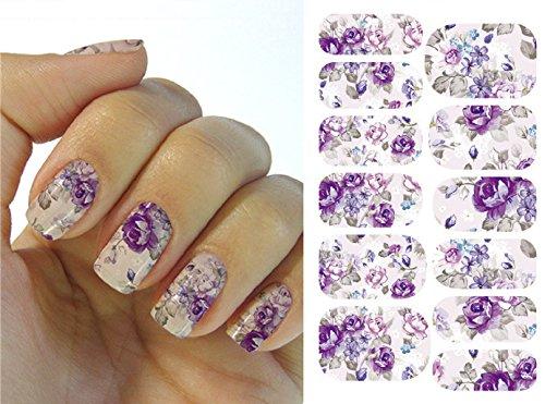 Kompletter Wrap Nail Art Wasser Transfer Aufkleber Sticker Blume - K5707B Nail Sticker Tattoo - FashionLife