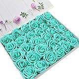 DerBlue Rose artificiali in schiuma artificiale, decorazione fai da te per bouquet, centrotavola, composizioni per feste, baby shower, decorazioni per la casa, confezione da 60 Blu Tiffany.