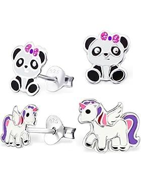 GH* 2 PAAR Pegasus Einhorn + Pandabär SET Ohrstecker 925 Echt Silber Mädchen Kinder Ohrringe Panda Pferde