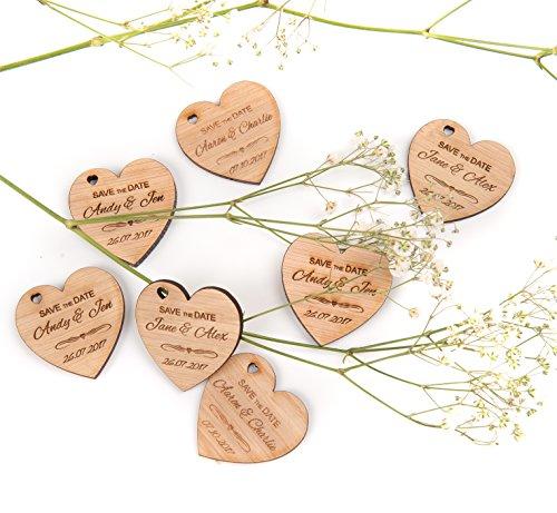 Persönlicher Gravur Holz Hochzeit Save the date Karte Kühlschrankmagnet Herz 5mm Eiche, holz, x 50 (The Save Date Hochzeit)
