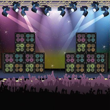 Rock Star Backdrop Banner - Concert Stage Karaoke Background Party Decoration by Fun Express by Fun Express
