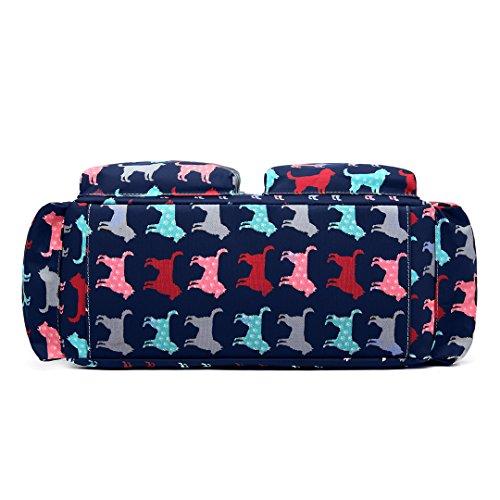 Miss Lulu, 4-teiliges Wickeltaschenset, mattes Wachstuch, geblümt und gepunktet oder andere Motive (schottischer Terrier, Schmetterlinge, Katzen, Elefanten), beige - Cat Beige - Größe: L 1501NDG Dunkelblau