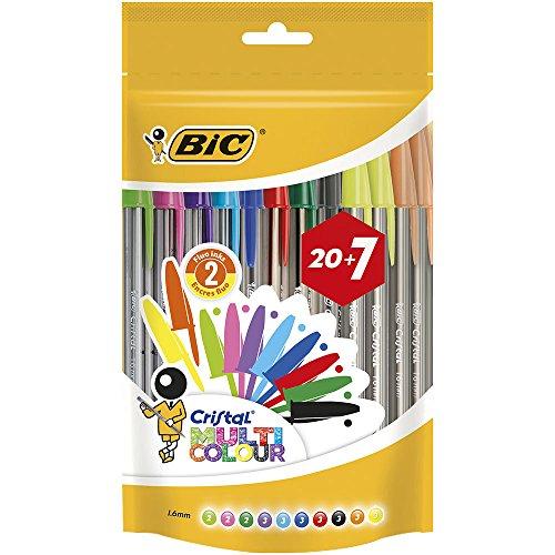 BIC Cristal Multicolour bolígrafos Punta Ancha (1,6 mm) – colores Surtidos, Bolsa de 20+7 unidades