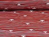 Swafing Nano Softshell Fiete, Schiffe, rot (Meterware ab