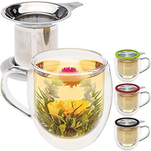 Taza de té de cristal doble con infusor de...
