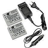 DSTE(2 Pack) Batterie de rechange DB-L20 + Chargeur de voyage pour Sanyo VPC-C6,VPC-CA6,VPC-CA65,VPC-CA9,VPC-CG6,VPC-CG65,VPC-CG9,VPC-E1,VPC-E2,VPC-E6,VPC-E7,VPC-S7,DMC-C1,DMC-C5,DSC-J4 Appareil photo
