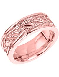 Little Treasures - 10 ct Solid Rose Gold Celtic Knot Unisex Wedding Band