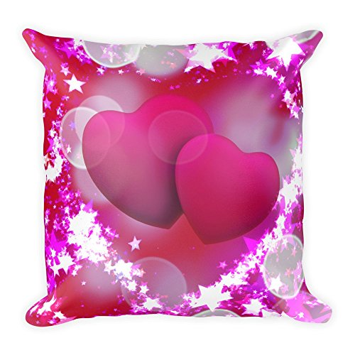 Pinkes Herz in Sternen, großes, flauschiges Kissen 45x45 cm, handmade in EU