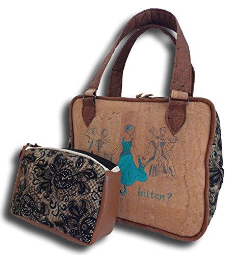 Tasche Bestickt Korktasche Handtasche Schuhtasche Messenger Bag (Bestickte Laptop-taschen)