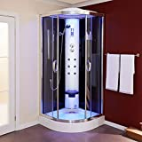 Steam Shower Cabin Enclosure and Tray 900x900, Sauna Function, 6 Body Jets, Overhead Shower, Handset with Hose, Thermostatic Valve, Seat, Built in Radio, LED Handset, Glass 5mm