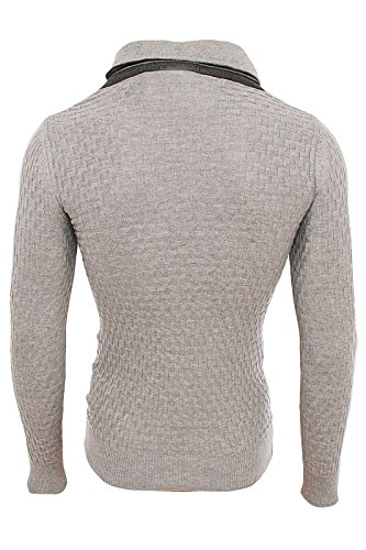 Redbridge Designer Herren Strickpullover hoher Kragen Norweger Pullover Men´s R-41513 Grau