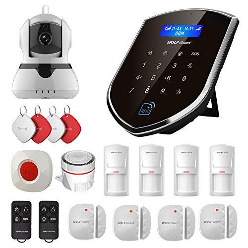 Sistema de alarma inteligente para el hogar con cámara de Wolf Guard WM2GR, sensor de ventana y de puerta, detector de movimiento, botón SOS, RFID, 2 G/GSM, doble red