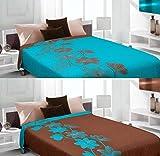 Tagesdecke Bettüberwurf 220x240 (lily/türkis- braun) Zweiseitig