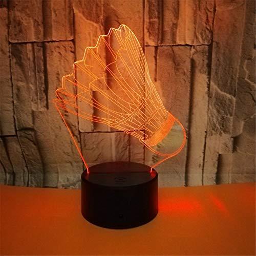 MS.REIA LED Nachtlicht, 3D Badminton Schreibtischlampe Bunte Umgebungsdekor Lichter Fernbedienung Touch Control USB Ladeanschluss Kreatives Geschenk