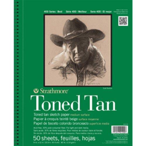 Preisvergleich Produktbild Strathmore 400Series Skizzenbuch, getönt, hellbraun, 22,9x 30,5cm, drahtgebunden, 50Blatt