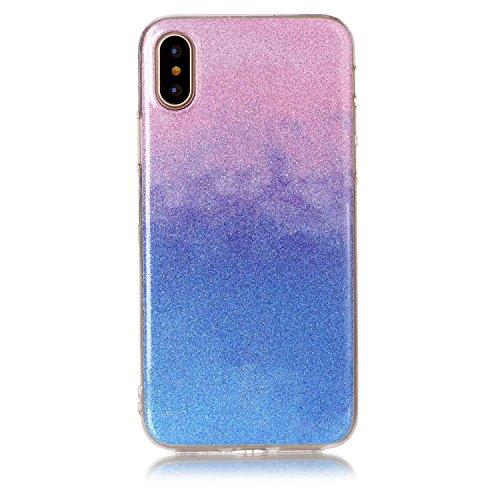 Custodia iPhone X - Cover in Glitter Silicone TPU - Surakey iPhone 10 Custodia Brillantini Colore Gradiente Slim Ultra Sottile Gomma Morbida Gel Case Antigraffio Antiurto Protezione Posteriore Caso Fl Gradiente Rosa Blu