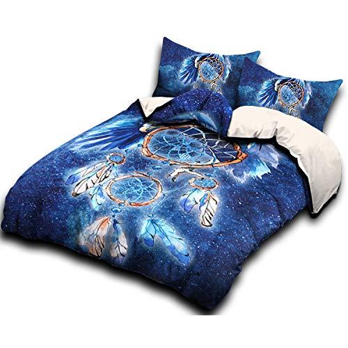 IMMIGOO Juego de Cama Funda de Edredón 230 x 230 cm + 2 Funda de Almohada 50 x 75 cm Tema Atrapasueños Animales Ropa de Cama Dreamcatcher Naturaleza Decoración - Azul