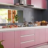 [4 Rollen] KINLO 61cm x 5m Hochglanz Selbstklebend Küchenschrank-Aufkleber Küchenfolie Refurbished Küchenschränke Kleiderschrank PVC Aufkleber Folie Möbel Schrank Tür Papier für Wandplakate - Rosa