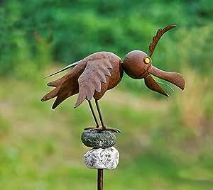 Dekorativer Gartenstab Vogel auf Stein Metall braun 135cm A