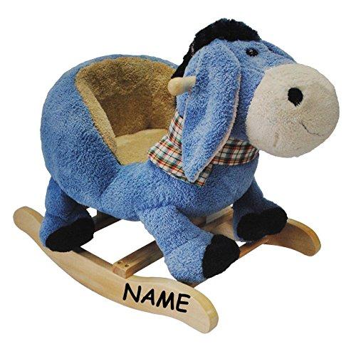 Unbekannt XL Plüsch und Holz Schaukelpferd - Esel incl. Namen - mit Einstieghilfe und Sicherheitsgurt - Schaukeltier mit Plüschbezug / Kind Schaukel Schaukelesel / Tier..