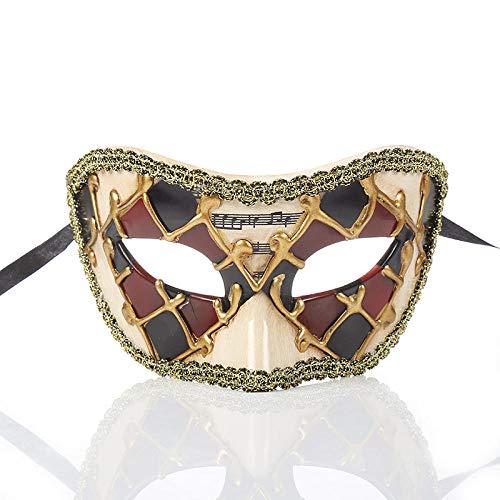 ZPYHJS Joker kostüm Damen,Weinlese-Musik-Festival-Maskerade-Dekorations-Kronen-Maske, halbes Gesichts-Halloween-Partei-Maske @ - Der Joker Kostüm Classic