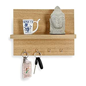 Forzza Mia Wall Shelf with Key Holder (Matte Finish, Teak)