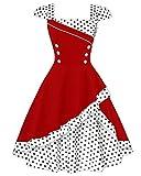 ZAFUL Robe Vintage années 1950 's Style Rockabilly Swing Pin Up Sans Manches Robe Rétro Robe de Soirée Cocktaile Grande Taille Col Carré - Rouge S