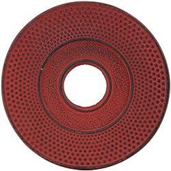 Tokio Design Studio Tee Wasserkocher mit Platte, Gusseisen, rot, 14cm