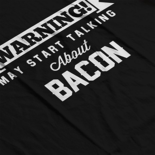 Warning May Start Talking About Bacon Men's Hooded Sweatshirt Black