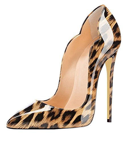 EDEFS Damen Pumps Spitze Zehen High Heels Stiletto Sexy Tiermuster Leopard Schuhe EU36 Sexy Stiletto High Heel Pumps