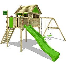 FATMOOSE Casa sobre pilotes FunFactory Fit XXL Casa de juegos juego de torre de casa del árbol con doble columpio y tobogán verde manzana