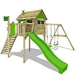 FATMOOSE Stelzenhaus FunFactory Fit XXL Spielturm Baumhaus Spielhaus mit Doppelschaukel und apfelgrüner Rutsche