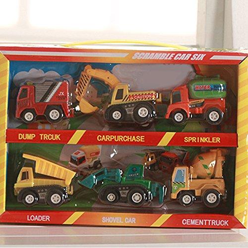 elegantstunning Elegantes Mini-Rückzieh-Spielzeug für Kinder, Cartoon-Auto, Bus, LKW, Kinder, 6 Stück