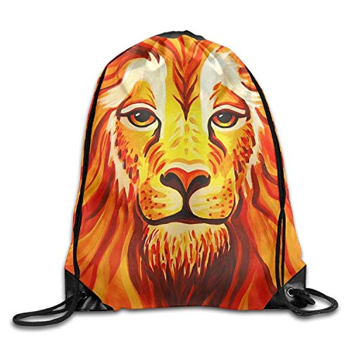 KIMIOE Turnbeutel Gym Large Drawstring Bucket Bag s Lion Face Painting Draw Rope Shopping Travel Backpack Tote Student Camping