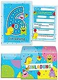 12 Einladungskarten zum 6. Kindergeburtstag blau incl. 12 Umschläge / sechsten Geburtstag / bunte Karten zum Geburtstag für Mädchen und Jungen