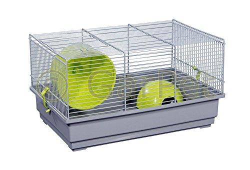 Hamsterkäfig Nagerkäfig Mäusekäfig mit Haus Laufrad Käfig farbwahl (grau)