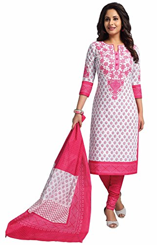 Miraan Women's Cotton Dress Material (RV3516_Pink_One Size)
