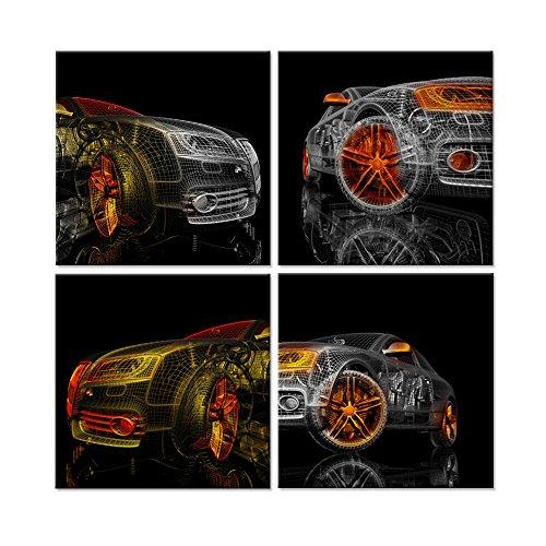 Hello Kunstwerk-Abstrakt Leinwand Wand Kunst Bunte Cars 3D-Modell Design auf schwarzen Hintergrund Bild Gemälde für Home Dekoration Gespannte Leinwand und fertig zum Aufhängen 30,5x 30,5cm x4pcs