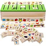 Kids Knowledge Classification Box (Numbers, Shapes, Vehicles, Vegetables, Animals And Fruits) Puzzle Wooden Toys 80 Pieces Educational Toys Kids 3+ Years (Multicolour)