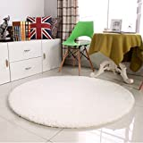 Li jing home Verdickung weichen runden Teppichen Fitness-Yoga-Matten einzelne Schlafzimmer Wohnzimmer Bettvorleger Stuhlkissen weich und komfortabel (Color : Weiß, Size : Diameter 120CM)